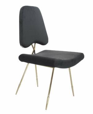 Krzesło tapicerowane nowoczesne metalowe nogi Salvadore Czarne 50/58/93 cm