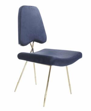 Krzesło tapicerowane nowoczesne metalowe złote nogi Salvadore Ciemny Niebieski 50/58/93 cm