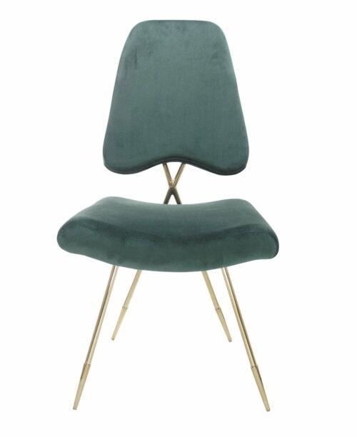 Krzesło tapicerowane nowoczesne metalowe nogi Salvadore Zieleń butelkowa 50/58/93 cm