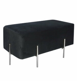 Pufa siedzisko nowoczesne kostka tapicerowana srebrne nogi Cube L Srebrny/Czarny 42/45/91 cm