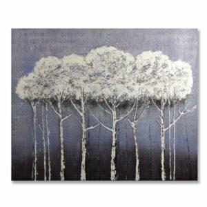 Obraz Śnieżny las malowany na płótnie z przestrzennymi elementami