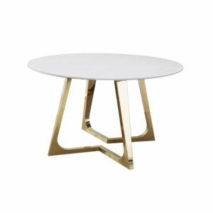 Stół okrągły nowoczesny blat marmur nogi stal chromowana Veneto Złoto/Biały 76/130/130 cm