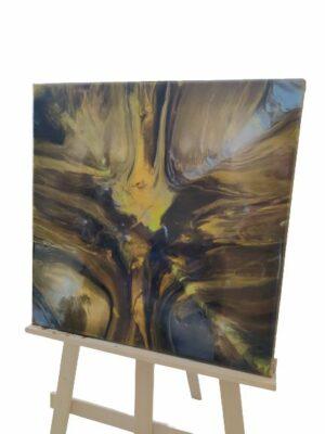 Obraz ręcznie malowany na płótnie żywica abstrakcja - Złota kropla