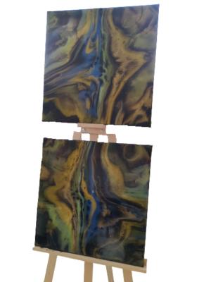 Obraz ręcznie malowany na płótnie żywica abstrakcja - Złota droga