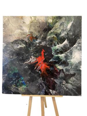 Obraz ręcznie malowany na płótnie akryl abstrakcja - wulkan
