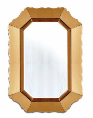 Lustro prostokątne w lustrzanej złotej ramie Mirano 60/90 cm