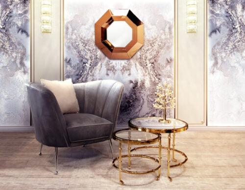 ;ustro Lucca w geometrycznej, złotej ramie do powieszenia na ścianę