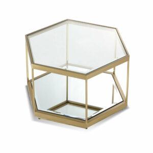 Szklany stolik w kolorze złotym o kształcie hexagon