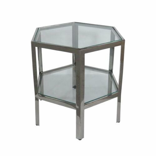 Szklany metaloway mały stolik kawowy hexagon Artehome