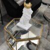 Stolik kawowy nowoczesny do salonu w kształcie hexagonu w metalowej złotej ramie z dwoma blatami