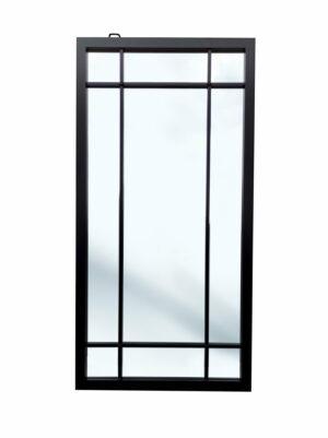 Prostokątne lustro w czarnej metalowej ramie ze szprosami - na białym tle