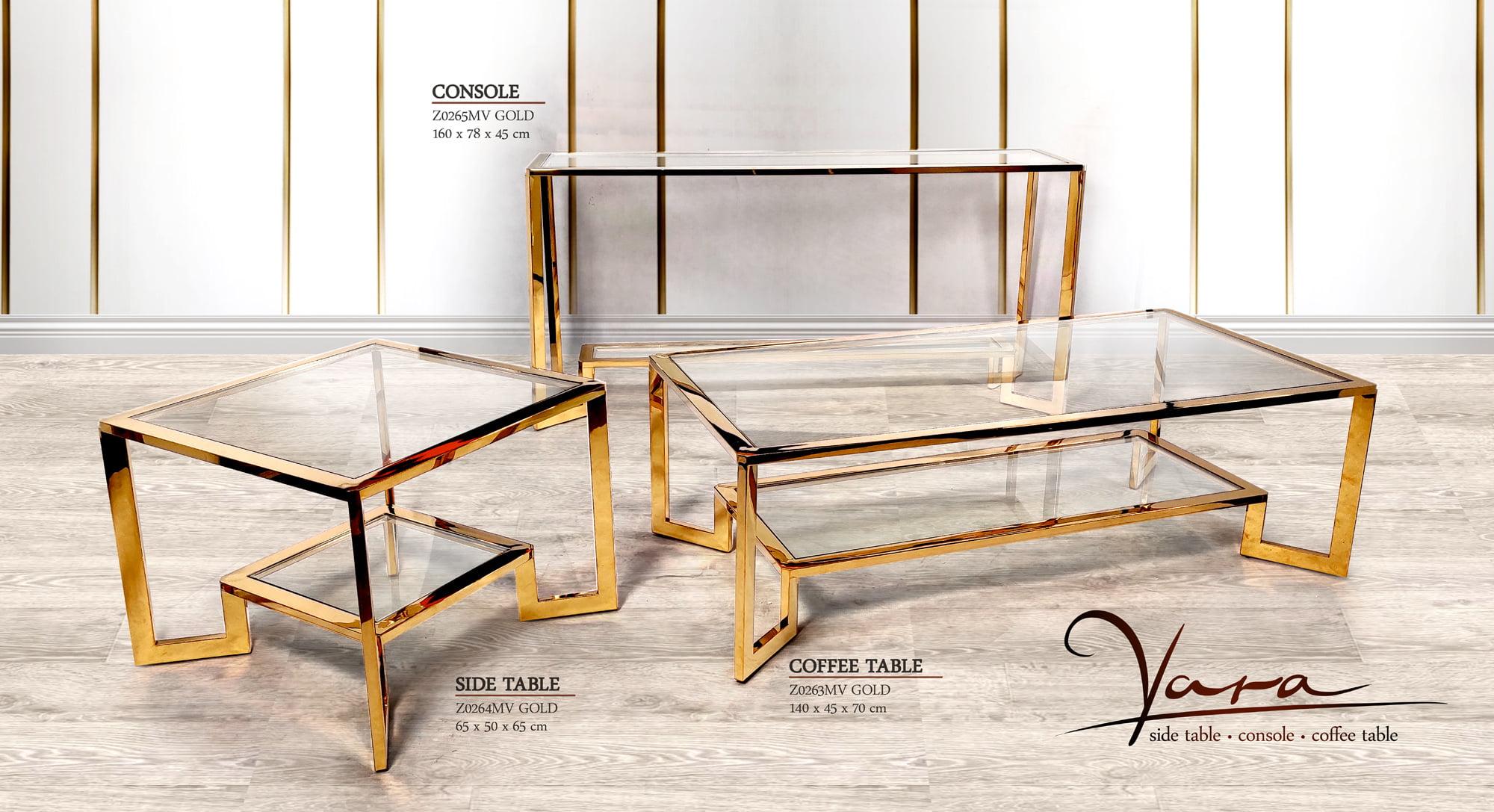 Zestaw mebli z metalu i szkła w kolorze złotym - stolik kawowy, stolik pomocniczy i konsola