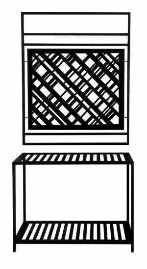 Wieszak garderoba loftowa motyw kratka kolor czarny
