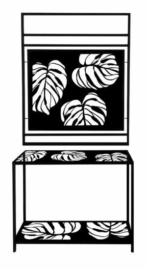 Wieszak w stylu loftowym w kolorze czarnym z motywem liści