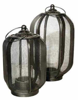 Metalowy lampion w kolorze ciemnobrązowym w dwóch rozmiarach z siatki