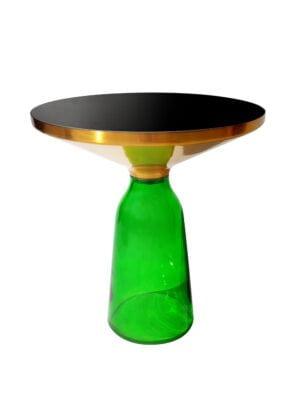 Bottle table zielony z podstawą z barwionego szkła